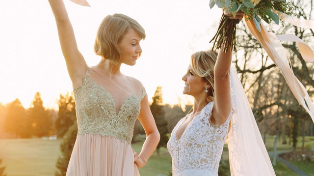 Taylor swift does maid of honor duties for her bff 39 s for Wedding dresses reading pa