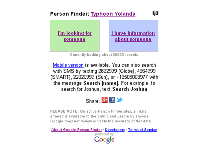 search for missing family and friends via google person finder