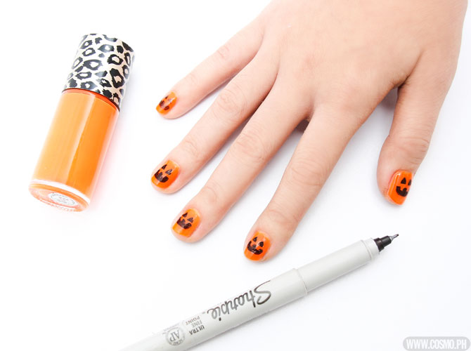Diy nail art pumpkin nails cosmo diy nail art pumpkin nails prinsesfo Choice Image