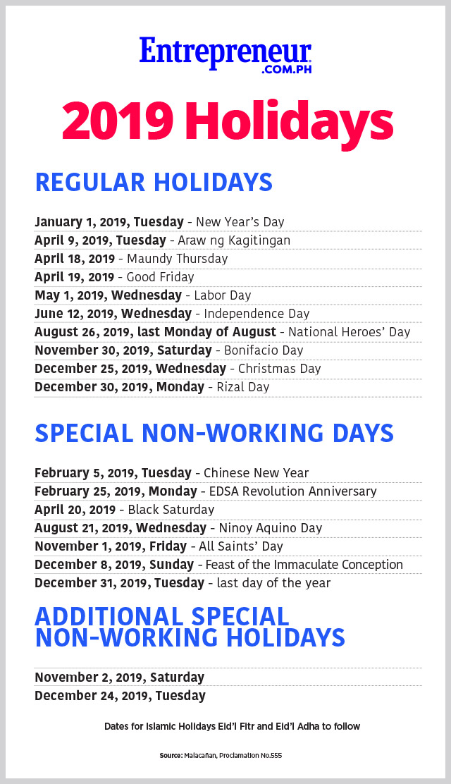 the office of the president has declared 19 holidays and special non working days for 2019 as announced in proclamation no 555 on august 15 wednesday