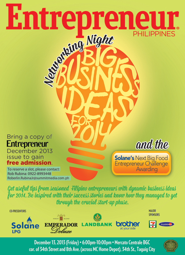 Big Business Ideas for 2014 and the Solane's Next Big Food Entrepreneur Challenge Awarding