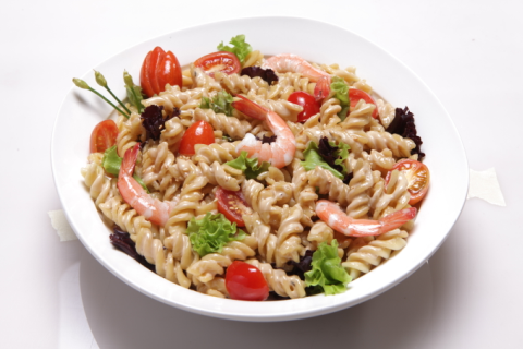Pasta recipe for food entrepreneurs: Shrimp and Pasta Salad with Creamy Sesame Dressing