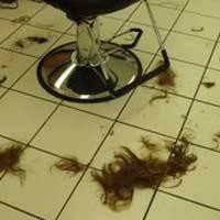 Cut hair falls on floor