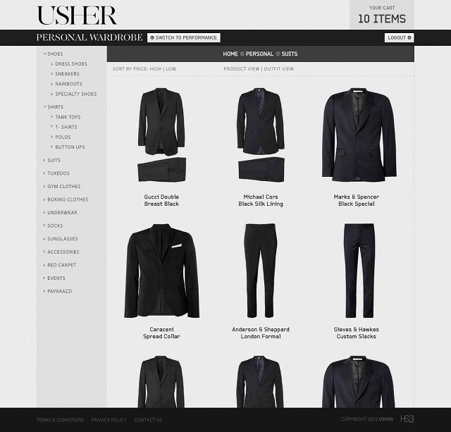 Usher ecommerce site