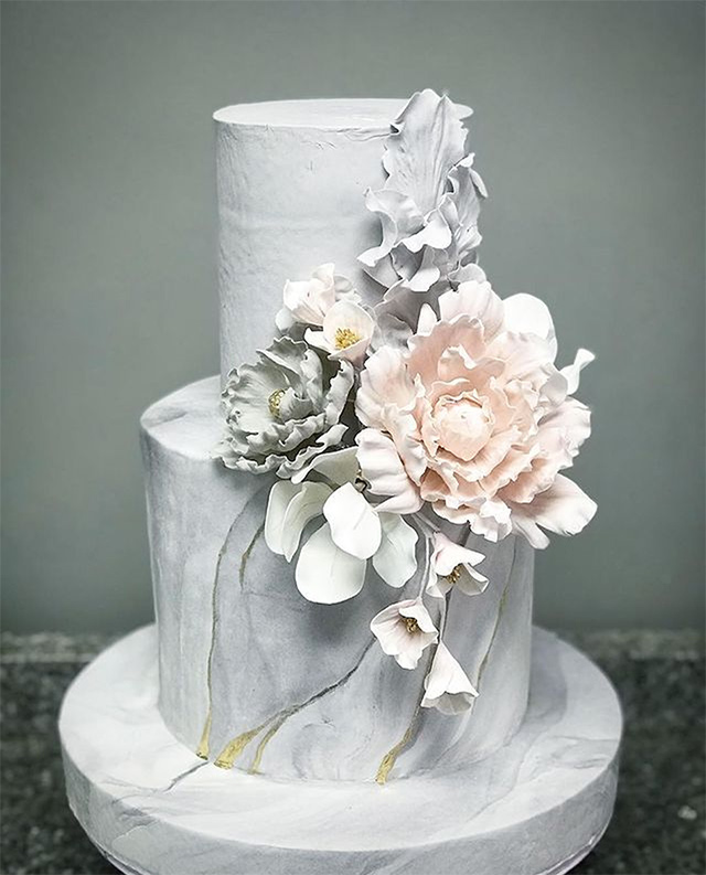 wedding cake designs: marble cakes