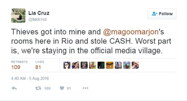 TV5 Reporters Lia Cruz, Magoo Marjon Robbed Hours Before 2016 Olympics Opening Ceremony