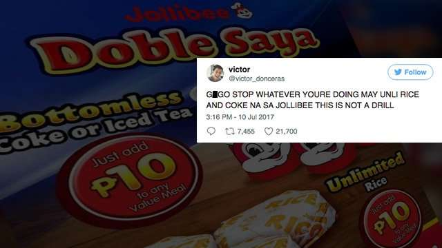 The Most Hilarious Social Media Reactions To Jollibee's Unli-Rice Promo
