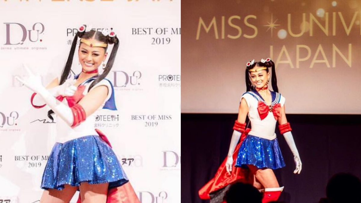 Miss Universe Japan Yuumi Kato wears Sailor Moon costume at Miss Universe 2018 contest