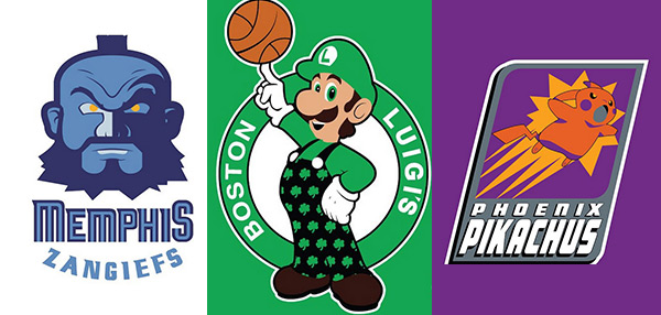 Artist Recreates NBA Logos With Classic Videogame Characters