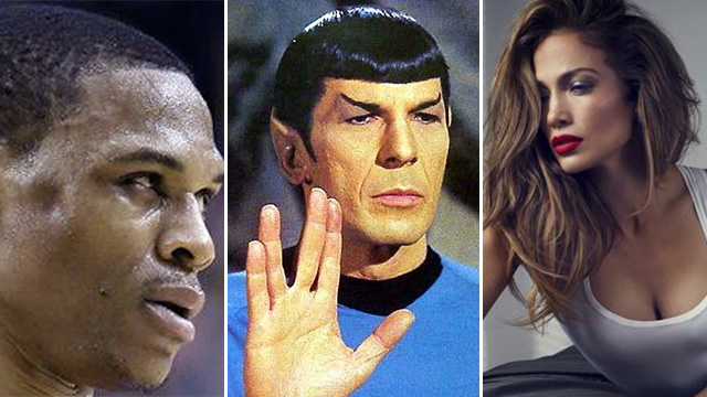 FHM's Best Of The Weekend: Westbrook's Facial Dent, Spock Passes Away, And J.Lo Would Totally Date Men In A Bar