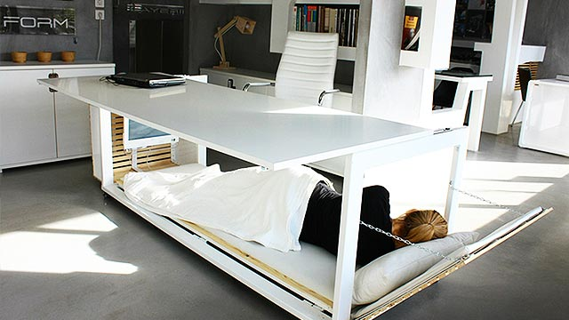 This Desk Is For Those Who Are Just Too Busy To Go Home And Sleep
