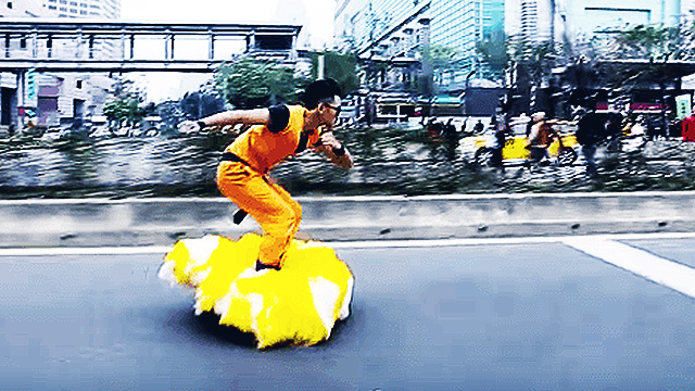 Dude Transforms Hoverboard Into Dragon Ball Z's Flying Nimbus