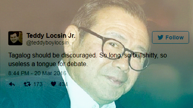 Teddy Locsin Jr. Irks Netizens With Elitist 'Tagalog' Remarks