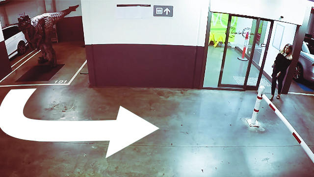 WATCH: Fake Raptor Scares Employees In A Carpark