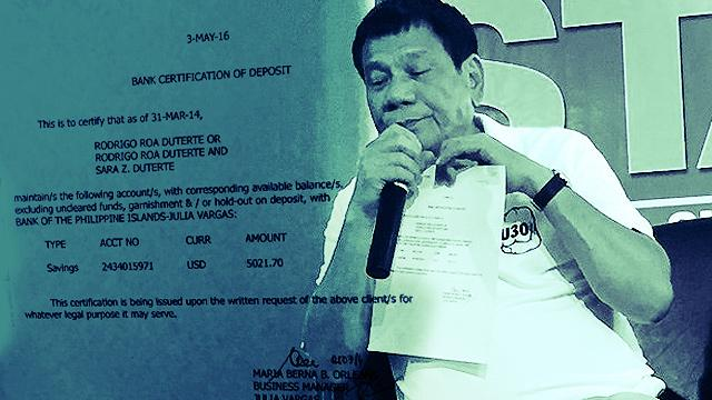 LOOK: Duterte Bares Peso, Dollar Bank Accounts