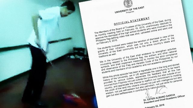 UE Expels High School Students Involved In PH Flag-Mopping Incident