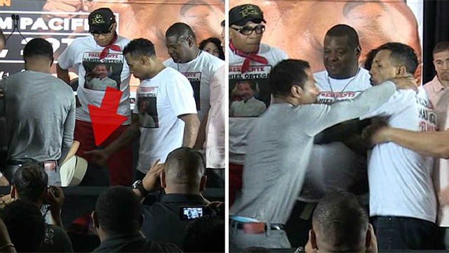 Shane Mosley's Girlfriend Gets Slapped On The Butt By Rival Mayorga, Looks Fake