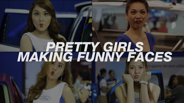 Pretty Girls Making Funny Faces At MIAS 2015