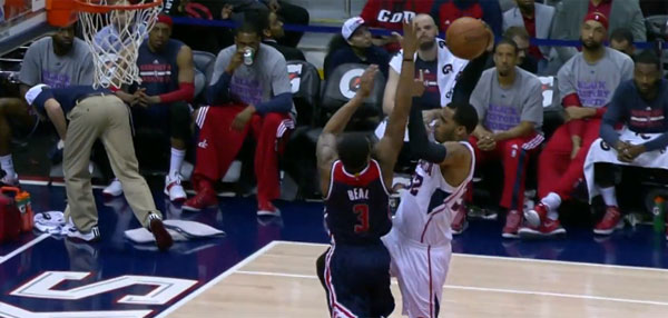 NBA Awesome Play Of The Day: Mike Scott Serves Bradley Beal A Facial!
