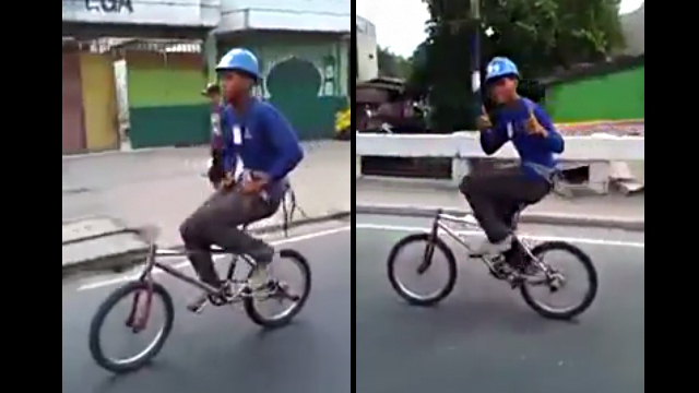 WATCH: Biker Rides Without Handlebars—Because YOLO!