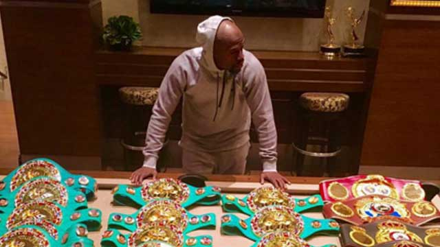 LOOK: All Of Floyd Mayweather's Championship Belts In One Photo