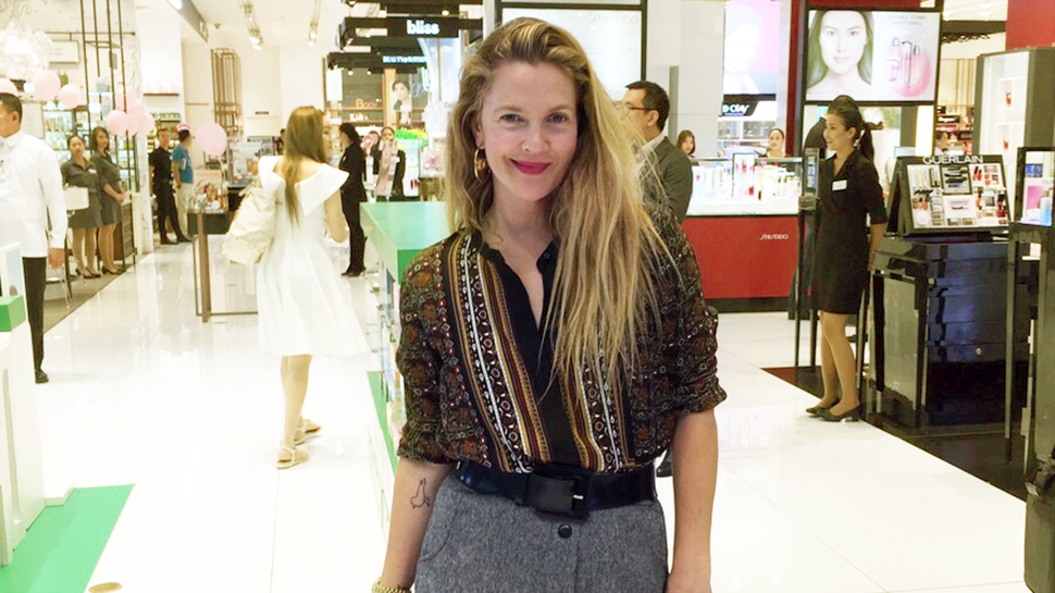 Drew Barrymore Visits The SM Store Makati's Beauty Section