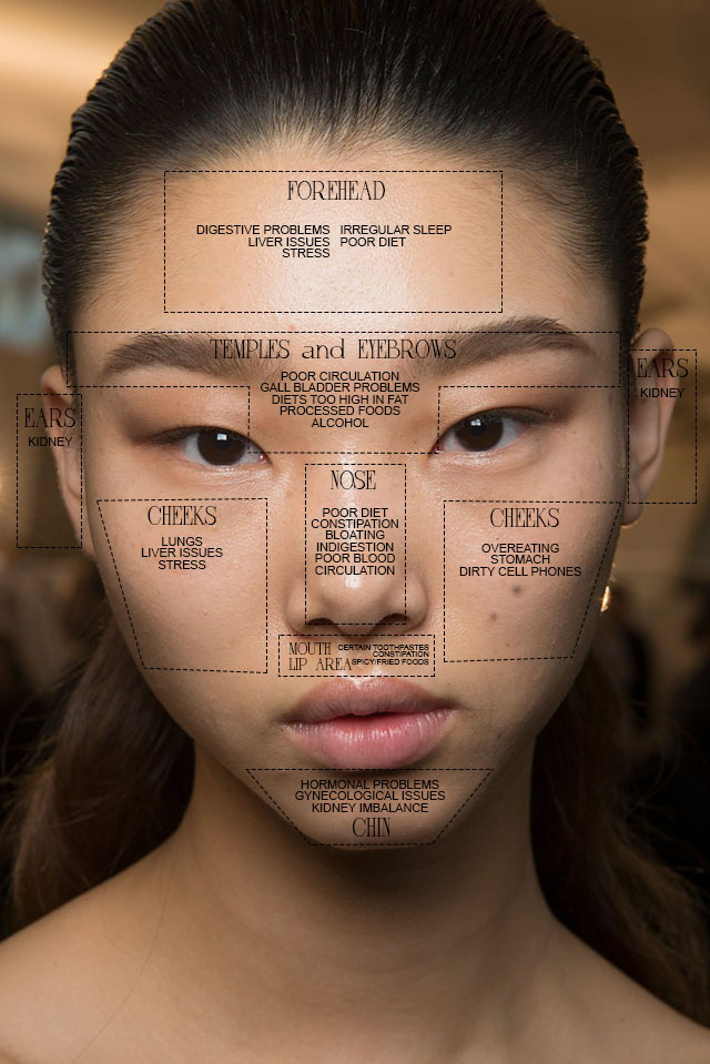 pimple chart: Fyi where your pimple is located reveals a lot about what caused