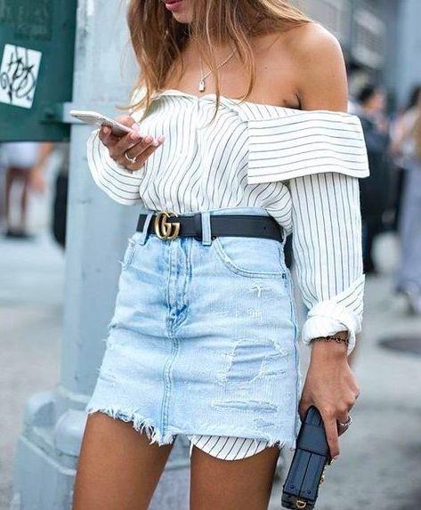 fantastic light denim skirt outfit tumblr wear