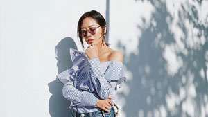 Lotd: Aimee Song Has A Genius Hack If Your Off-shoulder Top Keeps Falling