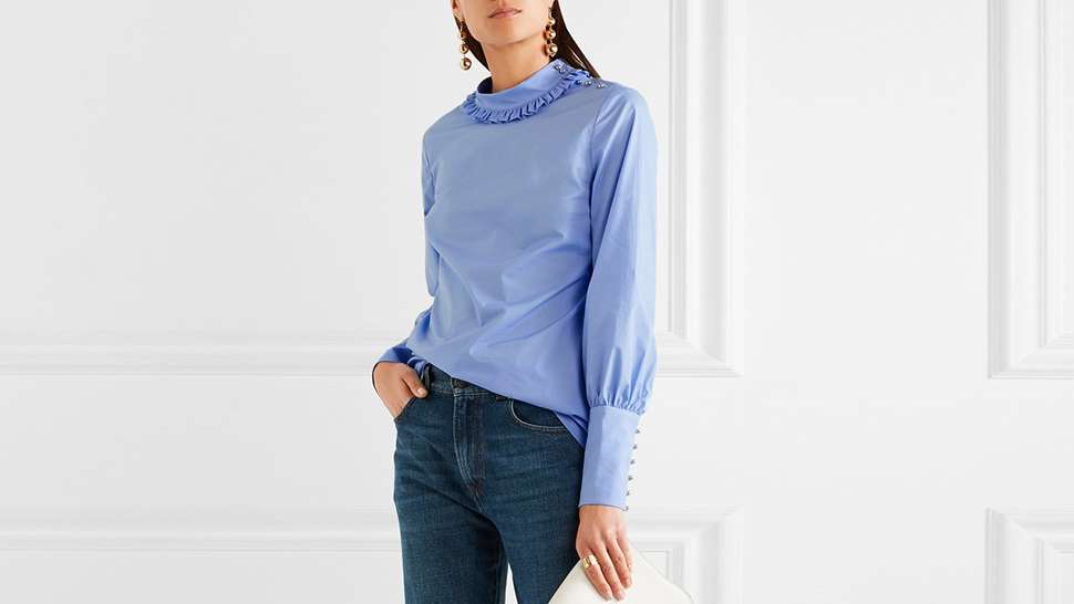 10 Ruffled, High Collar Tops to Shop Now