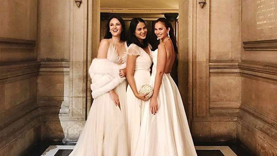 Georgina And Belle Wore Their Bridal Gowns To Vicki And Hayden's Wedding