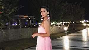 Katarina Rodriguez Wore The Dreamiest Pink Cocktail Dress In Egypt