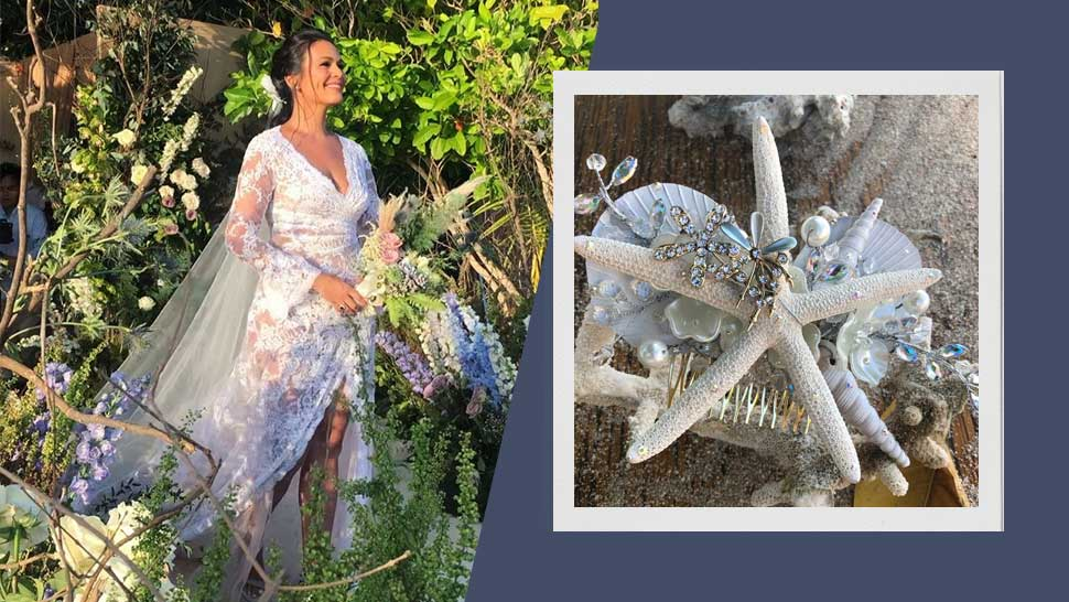 A Closer Look At Iza Calzado's Shell Bridal Headpiece