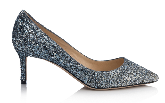 080b8b43bec Romy 60 in Fireball glitter degrade fabric (Silver and Dusk Blue). PHOTO BY  Courtesy of Jimmy Choo