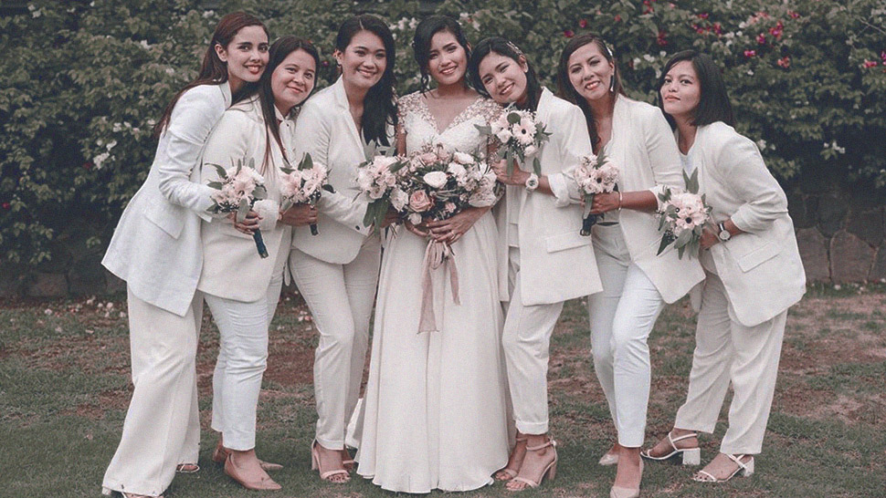 This Modern Bride Had Her Bridesmaids Wear an All-White Suit