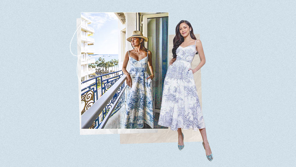 Kim Chiu And Apples Aberin Both Love This Dainty Blue-and-white Dress