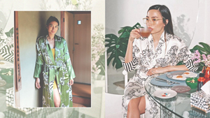 Isabelle Daza And Martine Ho Are Matching In This Luxe Silk Robe