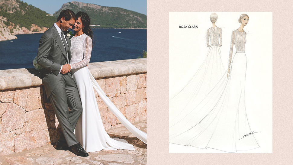 This Tennis Superstar's Bride Wore a Gorgeous Rosa Clara Gown to Their Wedding