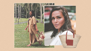 We Found The Exact Woven Designer Tote Iza Calzado Took On Vacation