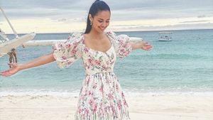We Found The Exact Floral Dress Megan Young Wore To The Beach