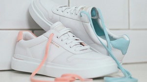 These Sleek White Sneakers Have The Prettiest Pastel Accents