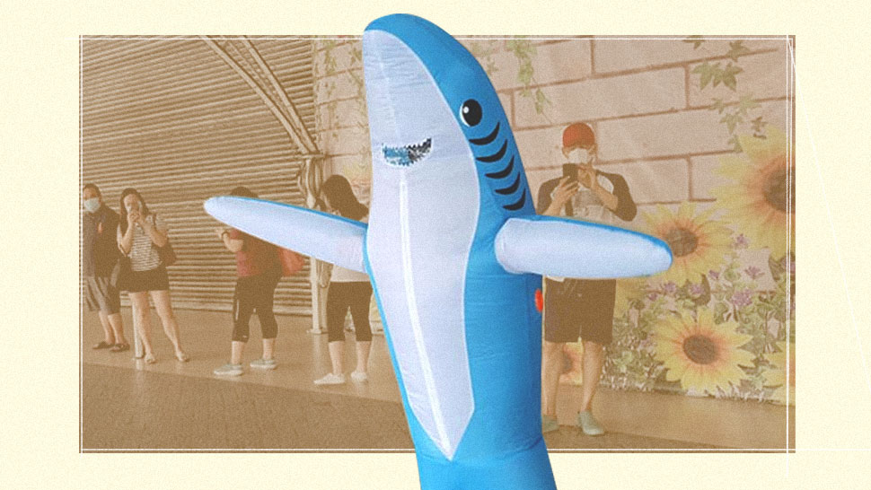 A Land Shark Was Spotted Roaming Outside Reminding People About Social Distancing