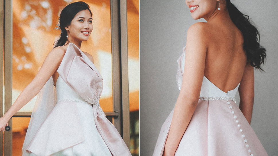 This Bride Tied the Knot in a Blush-Accented Ball Gown, and We're Obsessed
