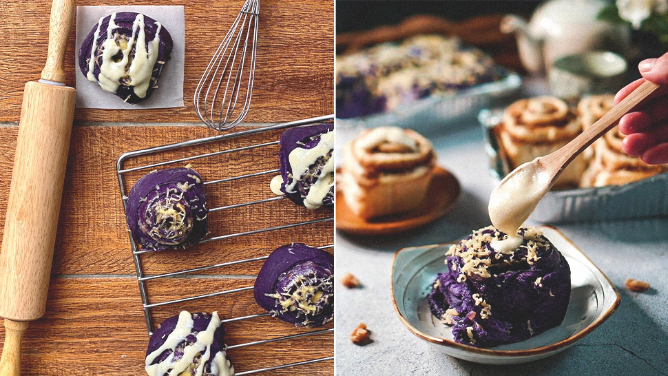 Love Cinnamon Rolls? We Found An Ube Version Topped With Cream Cheese