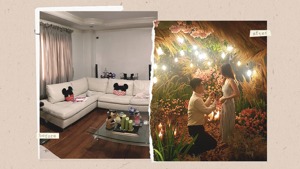 This Guy Turned His Girlfriend's Living Room into a Garden for a Wedding Proposal