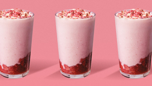 Starbucks' New Frappuccino Is Pink, Pretty, And Berry Flavorful