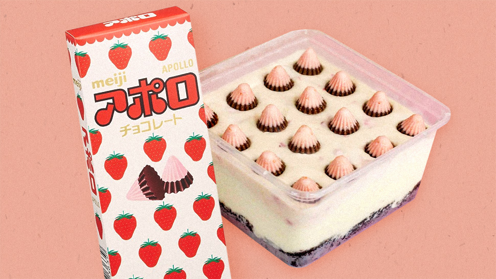 This Strawberry Cheesecake Is Topped With Meiji Apollo Chocolates