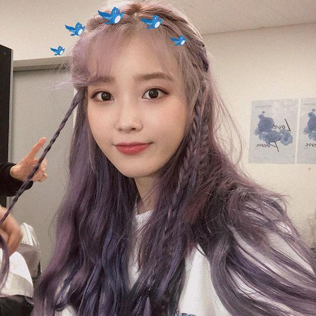 IU pastel lavender hair