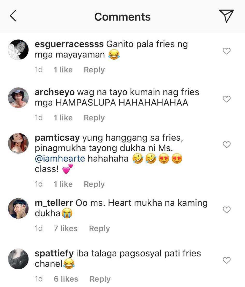 netizens reactions to heart evangelista's chanel fries