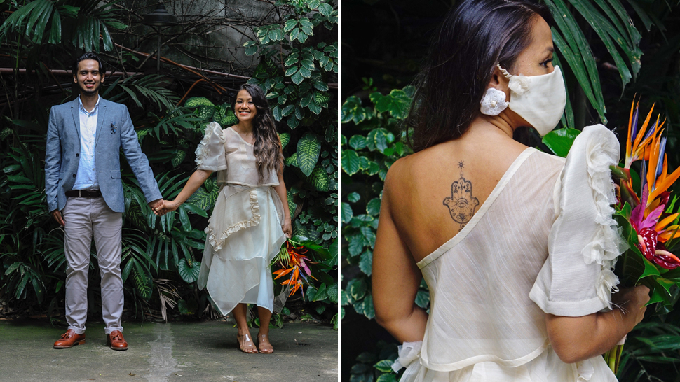 You'll Love This Bride's Unconventional One-shoulder Filipiniana Wedding Dress